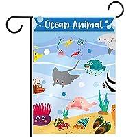 ホームガーデンフラッグ両面春夏庭屋外装飾 12x18INCH,海の動物の漫画のパターンの魚