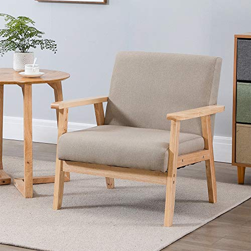 Retro Linen Fabric Sofa Armchair, Accent Leisure Chair Lounge Chair for Home Office, Upholstered Wooden Tub Chair for Bedroom, Living Room Armchair Single Seat, Khaki Set of 1