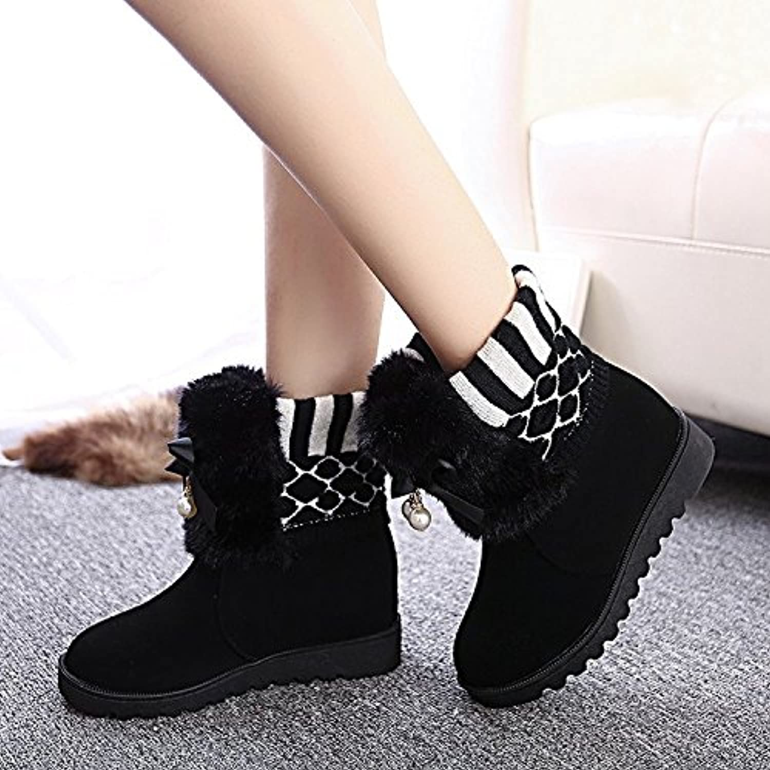 WYMBS Women's shoes Flat with Tie Short Boots Bowknot Cotton Boots