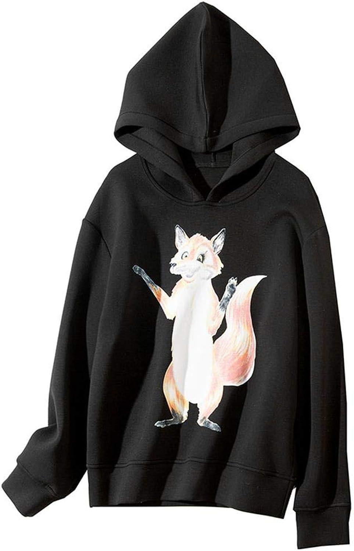 LHHJ Autumn and Winter Women's Fashion Fox Pattern Space Cotton Fashion Hooded Sweatshir