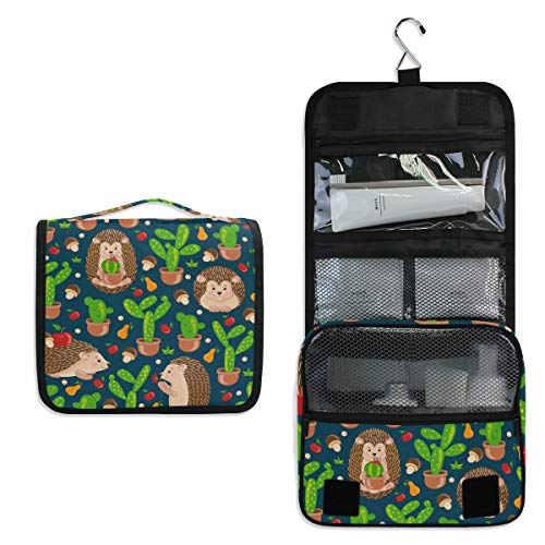 Hanging Travel Toiletry Bag - Watercolor Cactus Hedgehog Cosmetic Makeup Bag Pouch Organizer for Women and Girls Waterproof (hedgehog-1)