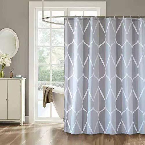 Sosila Duschvorhang Textil Anti-Schimmel Stoff wasserdicht Schimmelresistent Wasserabweisend Anti-Bakteriell Waschbar 100% Polyester inklusive Ringe Duschvorhanghaken (120 x 180 cm)