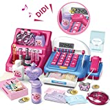 HERSITY Supermarket Electronic Cash Registers Toy Till with Scanner Pretend Make up Set