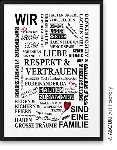 Familie Manifest ABOUKI Kunstdruck - ungerahmt - Geschenk-Idee Geburtstag Weihnachten für Großeltern Eltern Kinder Mutter Mama Vater Papa Frau Mann DIN A4
