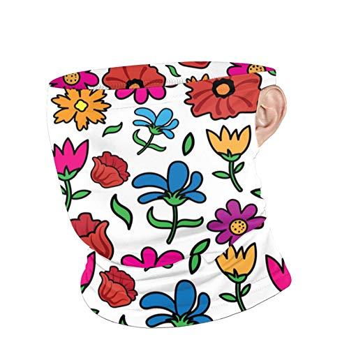 Szipry Pañuelo de flores coloridas para el jardín floral con trabillas para la oreja para hombres y mujeres al aire libre Polainas para el cuello