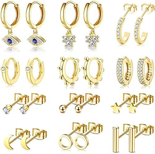 Milacolato 12 pares de aretes de aro pequeños chapados en oro/plata con encanto para mujeres y niñas CZ Moon Star Evil Eye Huggie Pendientes de aro con barra de bolas