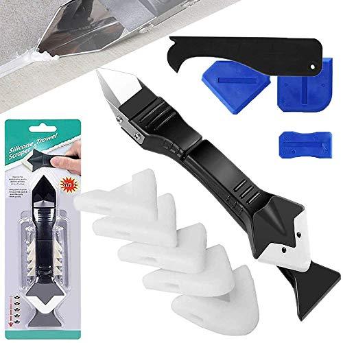 Silikonentferner Werkzeug, 3 in 1 Slikon Verstemmwerkzeuge/Dichtmittelentferner/Fugenwerkzeug, 4 Stück Silikon Abzieher Fugenglätter, Silikonglätter Werkzeuge für Küche Bad Boden Fliesen