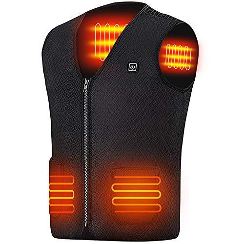 QOMOLM電熱 ベスト ジャケット 無臭 5枚ヒーター USB式 3段温度 L