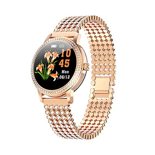 Smart Watch for Women, Luxury Diamond-Studded Bracelet with Heart Rate Blood Pressure IP68 Waterproof, Sport Watch Compatible for iOS Android iPhone Samsung Phones. (Golden Belt with Diamonds)