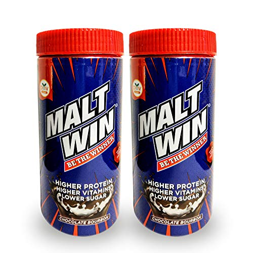 Maltwin Nutrition Health Drink for kids - 100% Malted Barley, Higher Protein, Active Immuno-Nutrients for Growth & Immunity, Chocolate Bourbon, 2 x 250g Jar