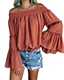 EasySmile Womens Off The Shoulder Tops Blouses Summer Casual Chiffon Bell Sleeve Ruffle Tunic Shirts S-XXL Burnt Brick