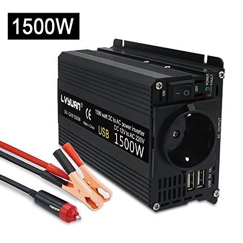 Spannungswandler 12v 230v / 750W Wechselrichter/Cantonape Stromwandler 12 auf 230 Inverter/ 2 USB Anschl¨¹sse inkl. Kfz Zigarettenanz¨¹nder Stecker Autobatterieclips