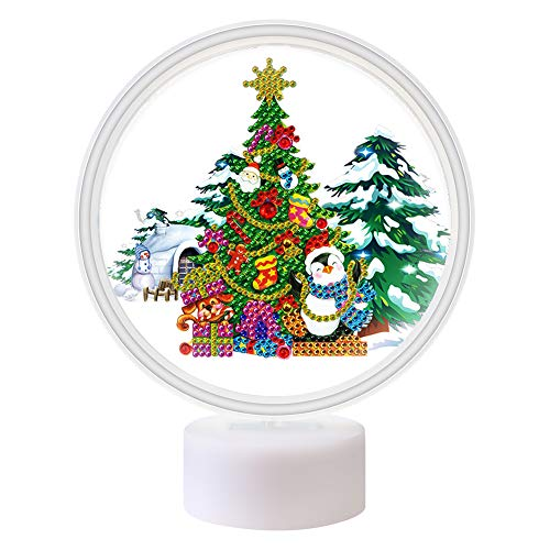 Christmas Diamond Painting Night Light Xmas Tree LED Lamp DIY Handmade Artwork 5D Full Drill Special Shaped Crystal Drawing Kit Arts Craft Bedside Lamp for Home Decor Gifts