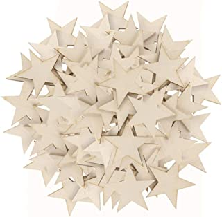 Toyvian 100 Pieces 30mm Mixed Wooden Stars Wooden Crafts for Hanging Crafts Art Decoration