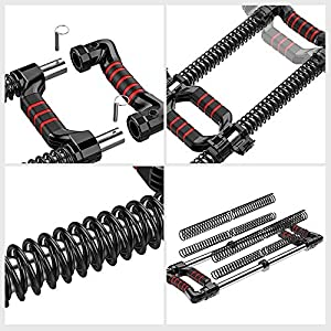 EAST MOUNT Push Down Bar Machine, Chest Expander Workout Equipment, at Home Personal Gym Fitness Upper Body Arm Shoulder Exercise Training Muscle and Strength Builder. (Black 4928)
