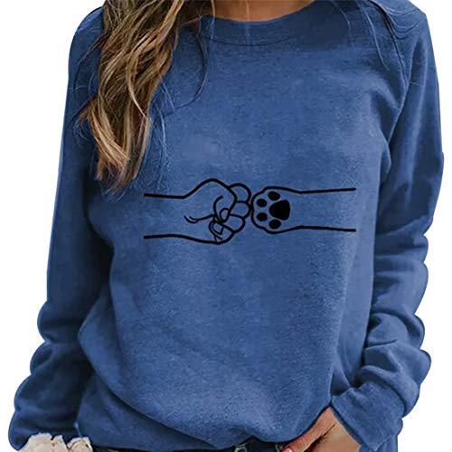 MoneRffi Damen Printed Casual Pullover Sweatshirt Rundhalsausschnitt Langarm Loose Sweater Shirts Bluse Tops(Blau,2XL)