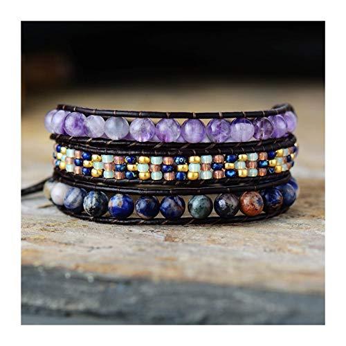 ZAOPP Pulseras de Envoltura de Cuero Política Natural con Cuentas Triple Declaración Strand Pulsera Bohemia Beads Jewelry Accesorios