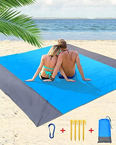 Esterilla Playa Plegable, 200 x 210cm Manta Picnic para 4-7 Adultos, 210T Alfombra de Playa de Poliéster Antiarena Impermeable con 4 Anclajes Fijos, para Playa, Camping, Picnic, Piscina, Azul y Gris