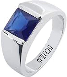 Suruchi Gems & Jewels Certified Natural 3.25 Ratti to 10.25 Ratti or 3 Carat to 9.35 Carat Blue Sapphire (Neelam) 925 Sterling Silver Ring for Men and Women