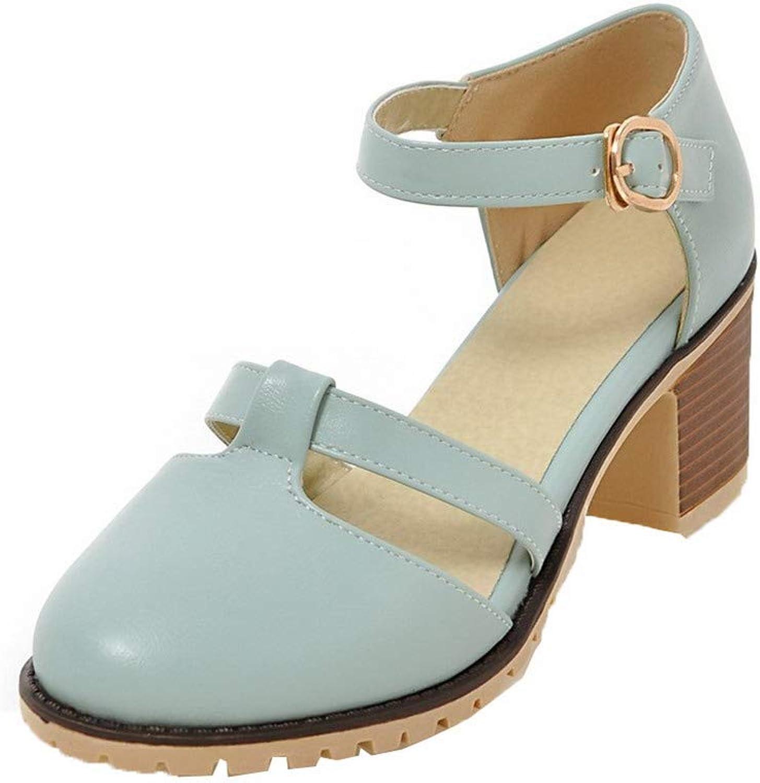 WeiPoot Women's Pu Closed-Toe Kitten-Heels Buckle Solid Sandals, EGHLH007660