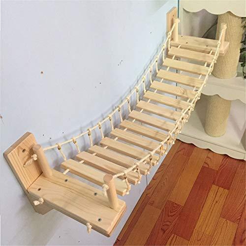 QWG 90Cm Cat Bridge Klettergerüst Holzwand Schritt Haustier Kratzbaum Haus Bett Springplattform Hängematte Sisal Kratzbaum Katzenmöbel Katzenspielzeug Wandmontage