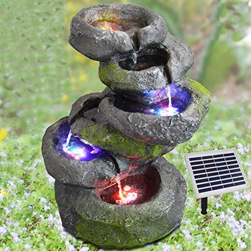 AMUR Fuente de jardín, fuente ornamental con iluminación, cascada, fuente de agua para jardín, estanque, terraza, estanque, balcón, muy decorativa, funciona con energía solar híbrida