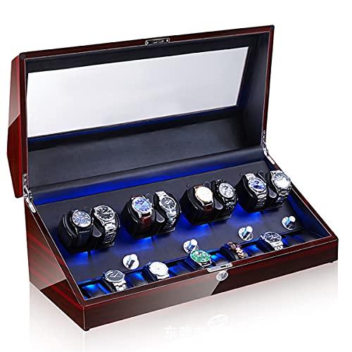 Caja Bobinado Automático Reloj Pulsera, Cajas Bobinadora Reloj, Bobinadora Reloj Motor Silencioso Mesa 8 + 0 Automática para El Hogar, Caja Presentación Almacenamiento Reloj Mecánico (Color : H)