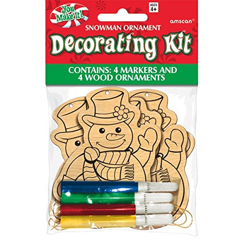 """Amscan Festive Christmas Party Snowman Wood Ornament Decoration Kit (Pack Of 4), Multicolor, 3 1/2"""""""