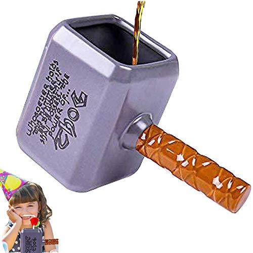 Bibykivn Taza de cerámica 3D, 550ML Taza de café Creativa de Dibujos Animados, Forma clásica de Martillo Thor, Taza Desayuno para Hombres y Mujeres para el Día del Padre, San Valentín, Oficina, Bar