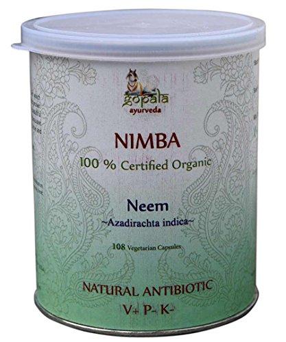NIMBA -Neem- (Azadirachta indica) capsule, Certificata biologica LACON GmbH in Europa, Formula Ayurveda come un antibiotico naturale, antimicrobico, antimicotico, anti-acne, 108 capsule (500 mg)