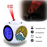 GIRLSIGHT Projection Alarm Clock Wake Up Bedroom with Data and Temperature Display Talking Function, LED Wall/Ceiling Projection,Customize The pattern-517.Fountain Metal Blue Horse Statue