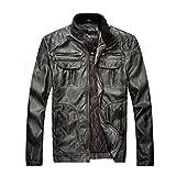 Jacke Kunst Leder Kunstlederjacke mit Stehkrage Design,AKAUFENG Biker Jacke mit Anzug Design Parka Outwear
