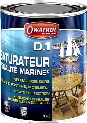 Owatrol Deks Olje D1 Protettivo ad alta penetrazione per legni tropicali in interni ed esterni, colore: Trasparente, 1 L