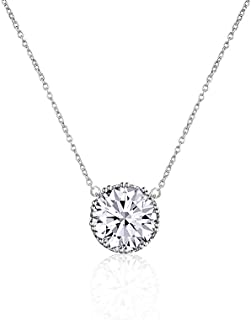 Beyond Love 2.25 Ct Round Cut 5A Cubic Zirconia CZ Birthstone Solitaire Pendant Necklace for Women Crown-Set Jewelry