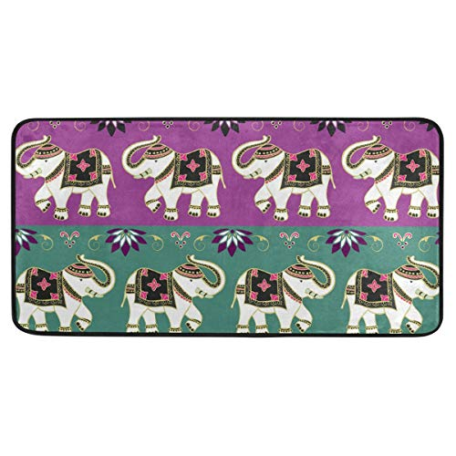 Rulyy Teppich mit Elefantenmotiv, Damast, rutschfest, weich, saugfähig, Fußdecke für Wohnzimmer, Esszimmer, Eingangsbereich, 99 x 51 cm