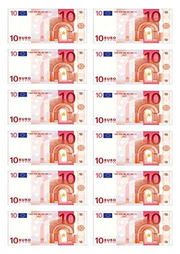 12x Tortendekoration aus Esspapier, Motiv: 50 Euro, für Cupcakes, Kuchen, Geburtstag, Feiern