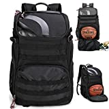 TRAILKICKER 35L Soccer Backpack with Attachable Shoe Bag and Ball Compartment, Sports Backpack for Basketball, Gym, Football & Volleyball, Black