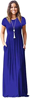 Meou & Moi Women's Short Sleeve Loose Fit Casual Maxi Dress with Pockets (XL, Royal Blue)