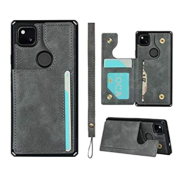 JWS-C Google Pixel 4a 5G UW Wallet Card Holder Case [Card Slots] [with Lanyard] PU Leather Flip Shockproof Cover for Google Pixel 4a 5G - Grey