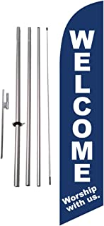Welcome Worship with us Church 15 foot Feather Banner Sign with Flag Pole Kit and Ground Spike