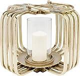 Kare Design Windlicht Golden Cage Klein, Windlicht aus Metall in Käfig Form, Goldenes Windlicht im Glamour Style, Verschiedene Ausführungen erhältlich (H/B/T) 32x41x41cm