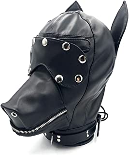 Yzwen Leather Animal Full Face Head Mask Dog Puppy Hood Removable Eye Mask Zipper Mouth Novelty Costume Party Props Cosplay Animal Imitation Funny Role Play Unisex Men Women Halloween,Black