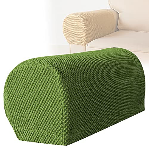 RRNAR Elastic Removable Sofa Armrest Covers Non-Slip Furniture Protector for Sofa Couch Sofa Arm Caps for Armchairs,Army Green,Set of 4