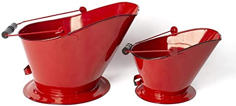 GRILA Vintage RED Fireplace Bucket Set -Rustic Farmhouse Kitchen Stove Coal Bucket Set of 2 Black Trim Store Wood by Your fire Place Tools and Accessories or Outdoor Grill or use as a vase or Planter