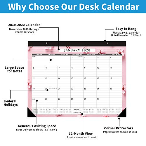 Large Desk Calendar 2020-22 x 17 Inches Desk Calendar 2020, Large Wall Calendars with Thick Paper, Smooth Writing, Large Space for Writing Notes, 14 Monthly Floral Designs, Office Calendars 2019-2020 Photo #5