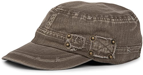 styleBREAKER Military Cap im Washed, Used Look, verstellbar 04023011, Farbe:Oliv-Braun