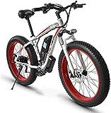 Bicicleta eléctrica de nieve, Bicicleta eléctrica Fat Tire eBike 26' 4.0, bicicletas de montaña for adultos 21 Frenos velocidad playa for hombre de rodaje deportivo de bicicletas de montaña completa d