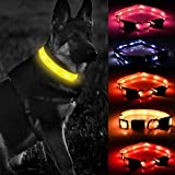 LED Dog Collar Light, Waterproof Lighted Dog Collars Rechargeable USB Glow in The Dark Dog Collars Lighted Dog Collar with 3 Flashing Mode for Night Safety for Large Dogs(5 Colors/Adjustable Size)
