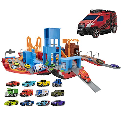 Micro Machines Super Van City Playset - Includes 12 MM Vehicles, Working Bridge, Construction Site, High Rise Building, Drag Strip, Ramps - Collect Them All