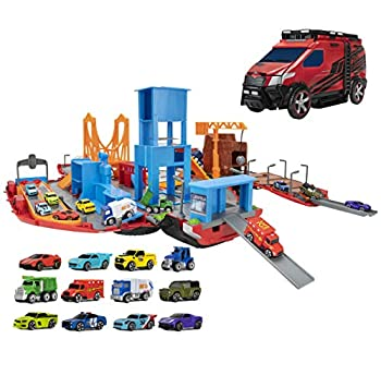Micro Machines Super Van City Playset - Includes 12 MM Vehicles Working Bridge Construction Site High Rise Building Drag Strip Ramps - Collect Them All - Amazon Exclusive